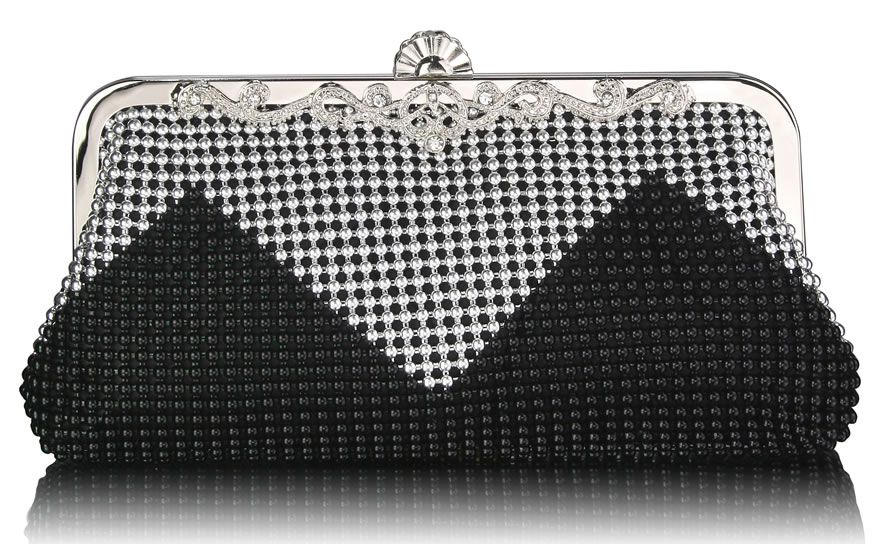 new appearance online store no sale tax Black Silver Vintage Beaded Crystal Clutch Bag